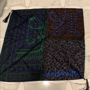 Louis Vuitton silk scarf with leather tassels